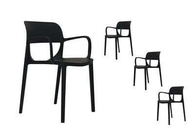 PAROS - Set of 4 Black Outdoor Dining Chairs