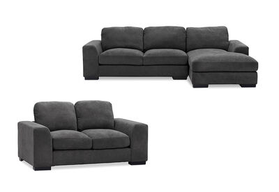 MARLOW - Fabric Sofa Pair with RHF Chaise