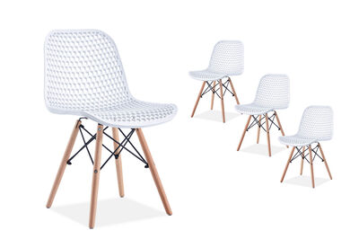 TRAPANI - Set of 4 White Dining Chairs