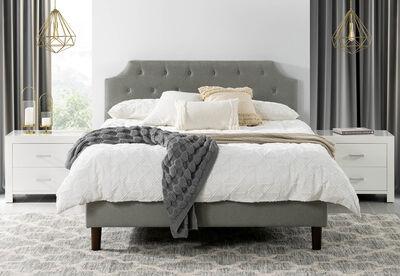 RIVERA - Light Grey Queen Bed