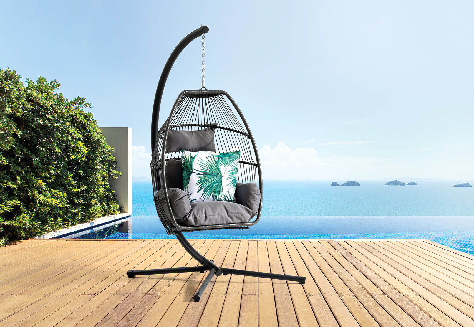 Black Napili Outdoor Hanging Chair Amart Furniture