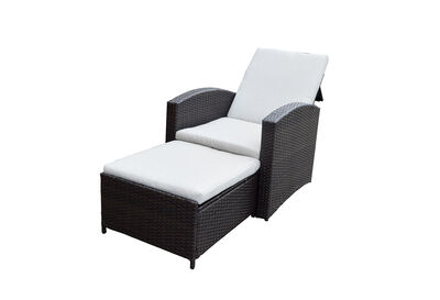 ALBIN - Brown Outdoor Lounge Chair Set