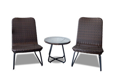 CRISPIN - 3 Piece Brown Outdoor Set