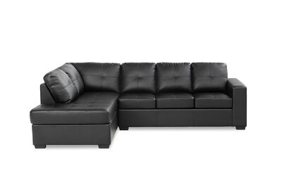 DIAMOND - Leather-Look Left-Hand Facing Corner Chaise with Sofa Bed