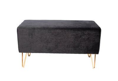 BEAUFORT - Black Velvet Ottoman Bench