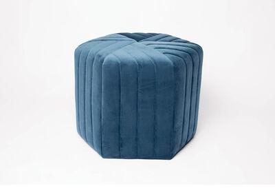 AGILE - Blue Velvet Hexagonal Ottoman