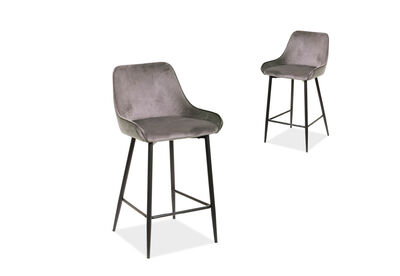 WISTERIA - Set of 2 Grey Bar Stools
