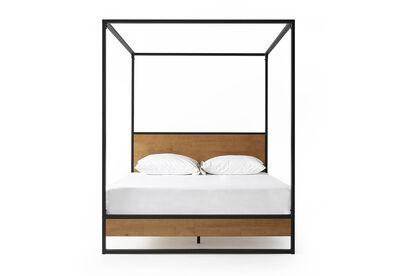 ELLA - Black/Timber King 4 Post Bed