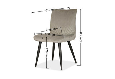 AGLAIA - Set of 2 Grey Dining Chairs