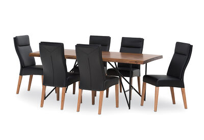 LIVE EDGE - 7 Piece Dining Suite with Asheville Dining Chairs