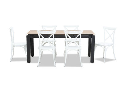 MORNINGTON - 7 Piece Outdoor Dining Setting with Skylar Chairs