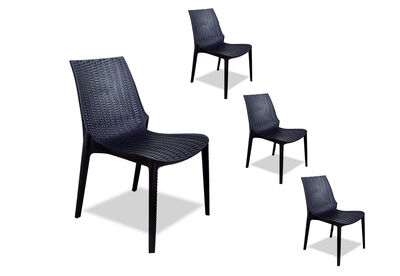 ARMAND - Set of 4 Black Outdoor Chairs