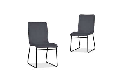ALBACETE - Set of 2 Dark Grey Dining Chairs