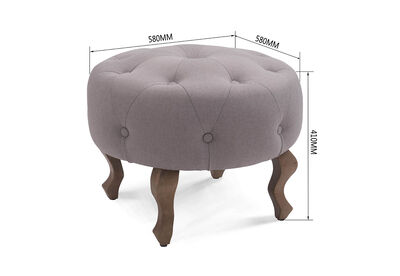 PIERRE - Grey Upholstered Ottoman