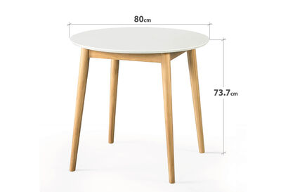 ROMAN - White/Natural 800 Round Dining Table