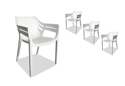 LAON - Set of 4 White Outdoor Dining Chairs