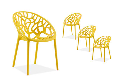 CORAL HARBOUR - Yellow Set of 4 Outdoor Chairs