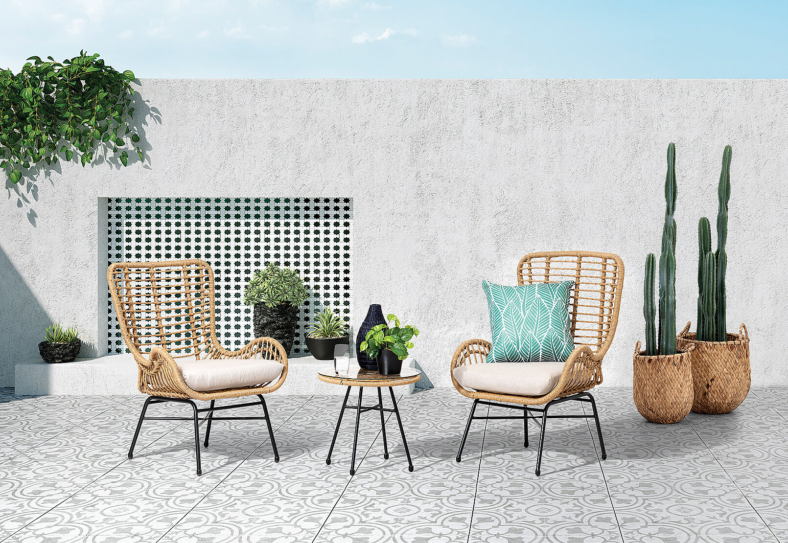 Natural Black Lacy 3 Piece Outdoor Setting Amart Furniture