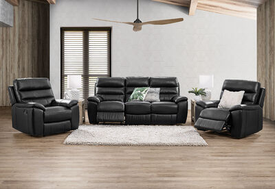 SELLARONDA - Leather 3 Piece Recliner Suite