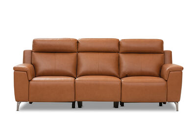 ARISTOTLE - Leather 3 Seater Sofa with 2 Inbuilt Electric Recliners