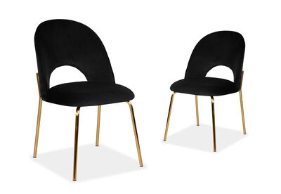 THERESE - Set of 2 Black Dining Chairs