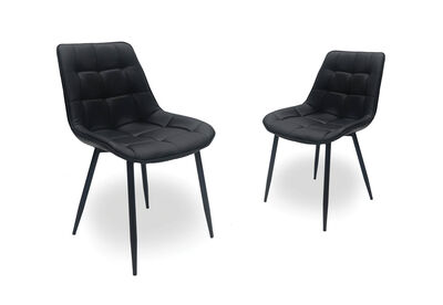 ARCADIAN - Set of 2 Black Dining Chairs