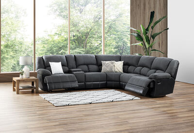 MADDEN - Corner Lounge with Console and 2 Inbuilt Recliners