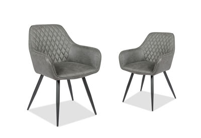 DELPHINE - Set of 2 Grey Dining Chairs