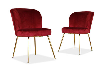 BADALONA - Set of 2 Burgundy Dining Chairs