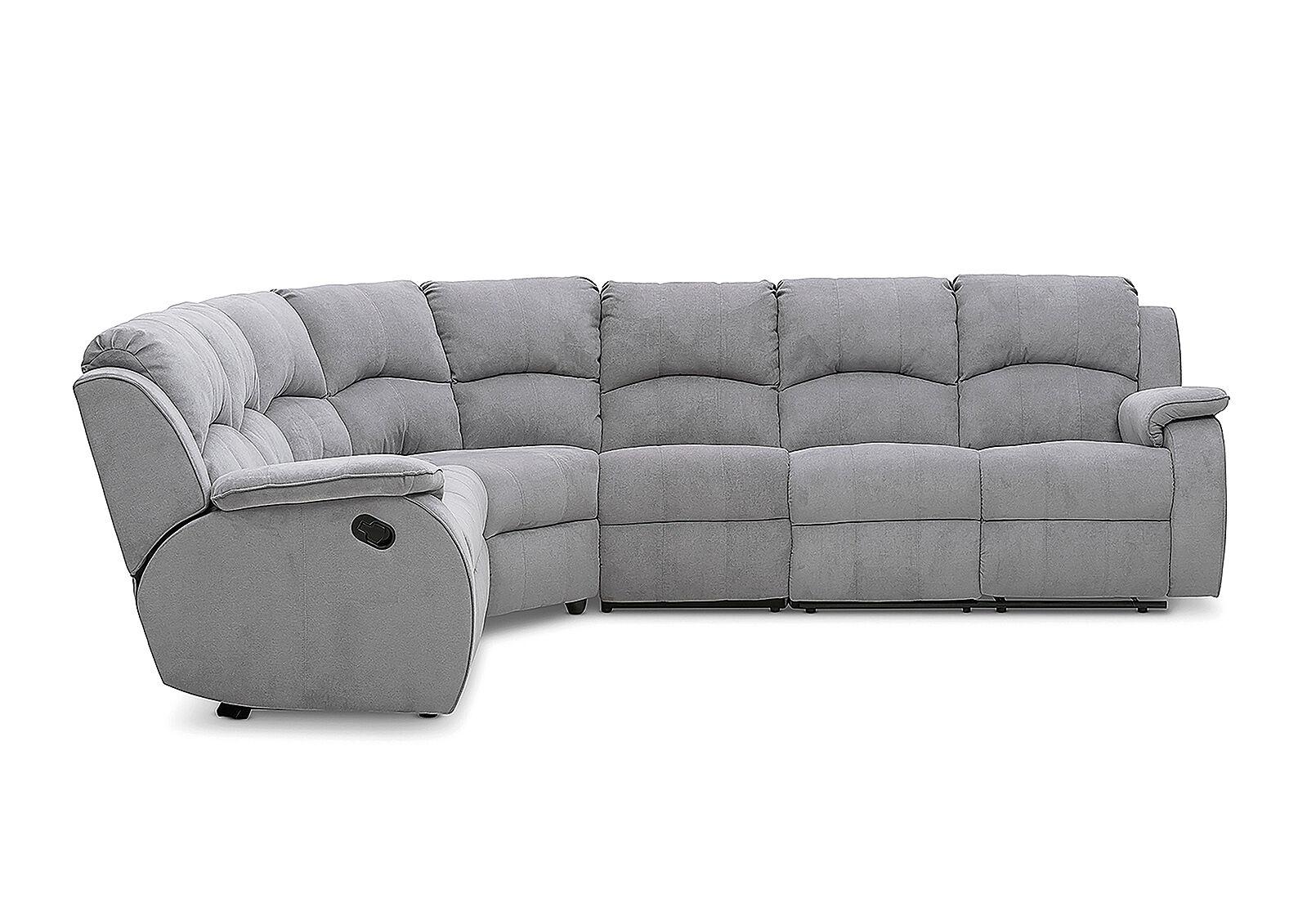 SALOON Fabric Corner Lounge with Inbuilt Recliners | Amart