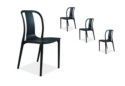 VON TIKI - Set of 4 Black Outdoor Dining Chairs