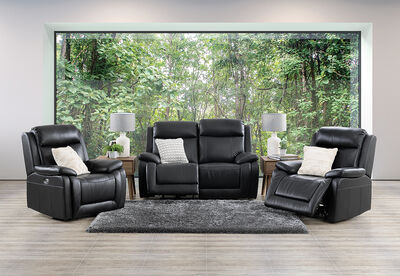 SAN MARCO - Leather 3 Piece Electric Recliner Suite