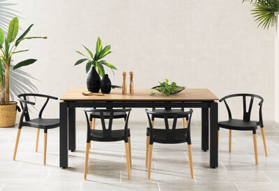 LINARES - Set of 4 Black Dining Chairs
