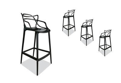 HERRERA - Set of 4 Black Replica Philippe Starck Masters Bar Stools
