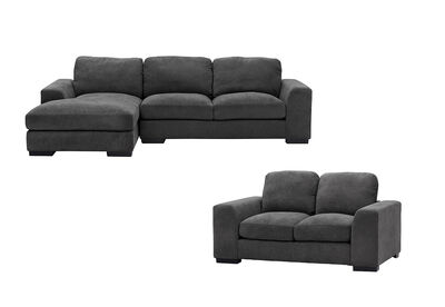 MARLOW - Fabric Sofa Pair with LHF Chaise
