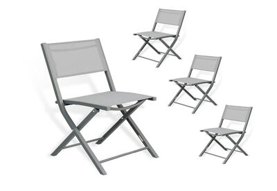 ALEX - Set of 4 Grey Outdoor Chairs