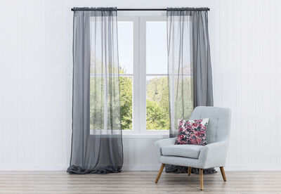 MIST - Voile Rod Pocket Curtain with Hemming Tape 135 x 290cm