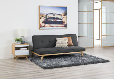RIZZO - Fabric Timber Base Click Clack Sofa Bed