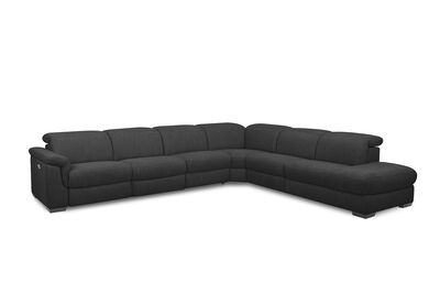LUCIANO - Fabric Corner Lounge with 3 Inbuilt Electric Recliners and Right-Hand Facing Chaise
