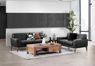 LIONEL - Leather Sofa Pair