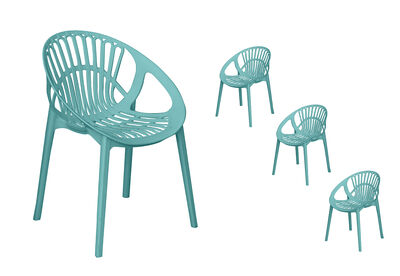 LILLE - Set of 4 Teal Dining Chairs