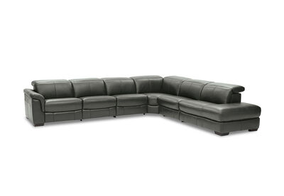LUCIANO - Leather Corner Lounge with 3 Inbuilt Electric Recliners and Right-Hand Facing Chaise