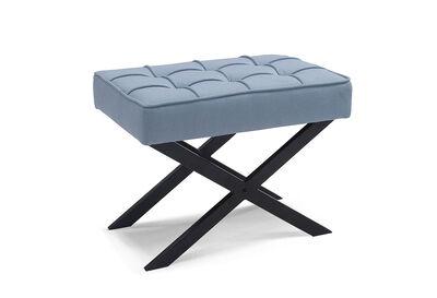 GILES - Light Blue Upholstered Stool