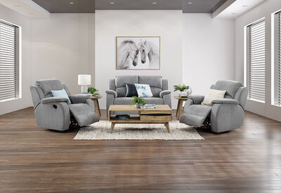 SALOON - Fabric 3 Piece Recliner Suite with 2 Seater