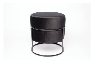 ACTIVE - Black Velvet Ottoman with Stand